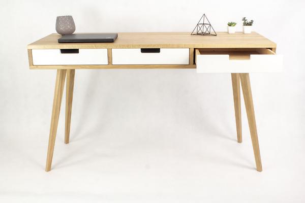 Dębowe lite drewniane Biurko Skandynawskie Wide z trzema dębowymi szufladami w stylu skandynawskim, designerskie