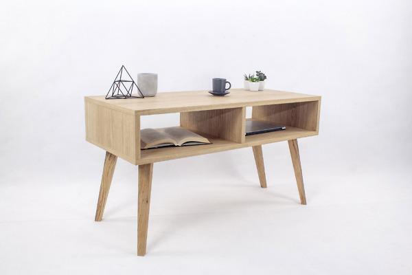 Designerski Stolik Kawowy Skandynawski Wide z dwiema półkami