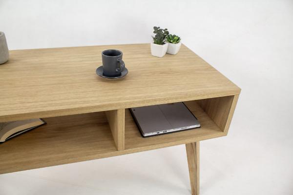 Designerski Stolik Skandynawski Wide z dwiema półkami II