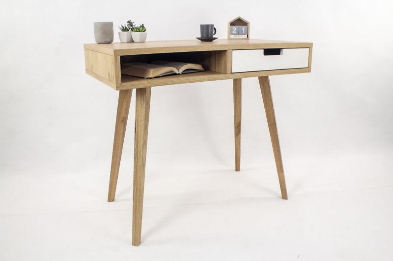 Designerskie Biurko Lea skandynawskie z białą szufladą i półką, styl skandynawski, dębowe, drewniane