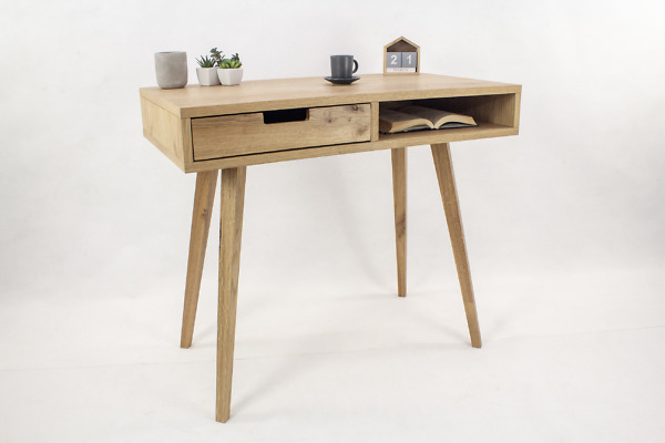 Designerskie Dębowe Biurko Skandynawskie Lea z szufladą i półką – dębowy front II, w stylu skandynawskim