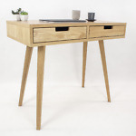 Designerskie biurko skandynawskie Lea z dwiema białymi szufladami