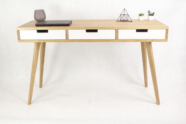 Dębowe lite drewniane Biurko Skandynawskie Wide z trzema białymi szufladami w stylu skandynawskim, designerskie