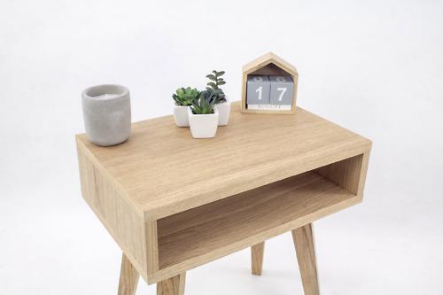 Nowoczesna designerska drewniana Szafka Nocna Lea Mini z półka, styl skandynawski
