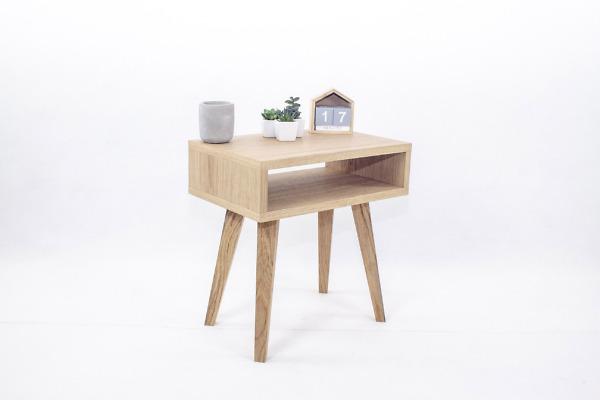 Nowoczesna designerska dębowa Szafka Skandynawska Nocna Lea Mini z półka, styl skandynawski, drewniana