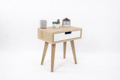 Skandynawska Szafka Nocna Lea Mini z białą szufladą