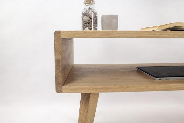 Dębowy lity designerski Stolik Kawowy Wide z zaokrąglonymi bokami, nowoczesny, skandynawskie meble
