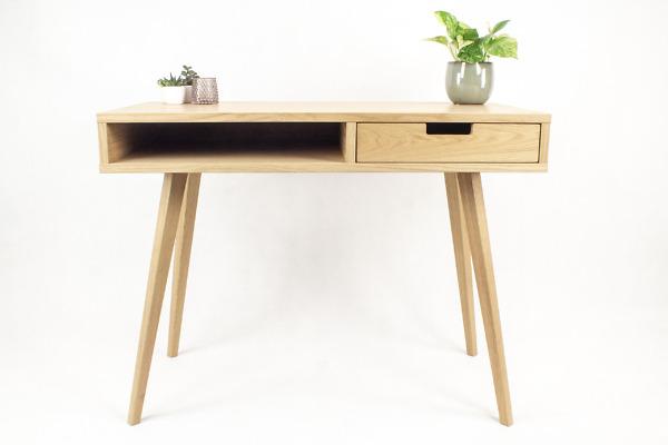 Designerskie Biurko Lea 100 cm z półką i szufladą z dębowym frontem - styl skandynawski, dębowe, drewniane