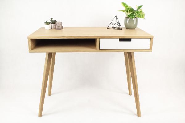 Designerskie Biurko Lea 100 cm z półką i szufladą z białym frontem - styl skandynawski, dębowe, drewniane