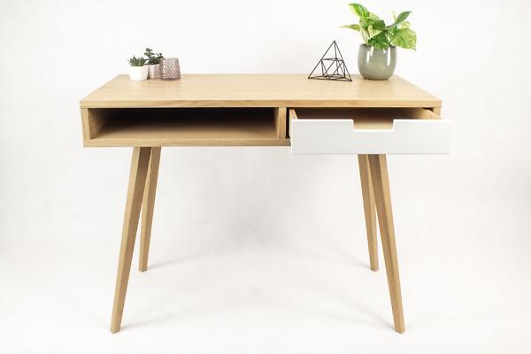 Designerskie Biurko Lea 110 cm z półką i szufladą z białym frontem - styl skandynawski, dębowe, drewniane