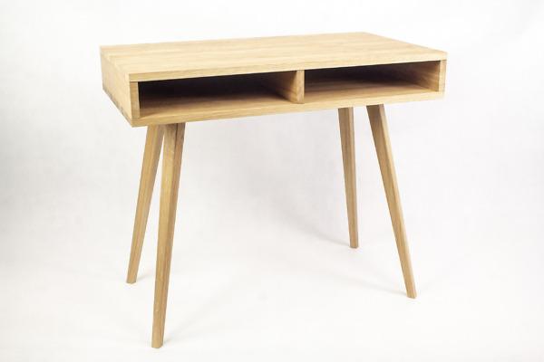 Dębowe lite designerskie Biurko Lea z półką i dębowa prawą szufladą w stylu skandynawskim, nowoczesne