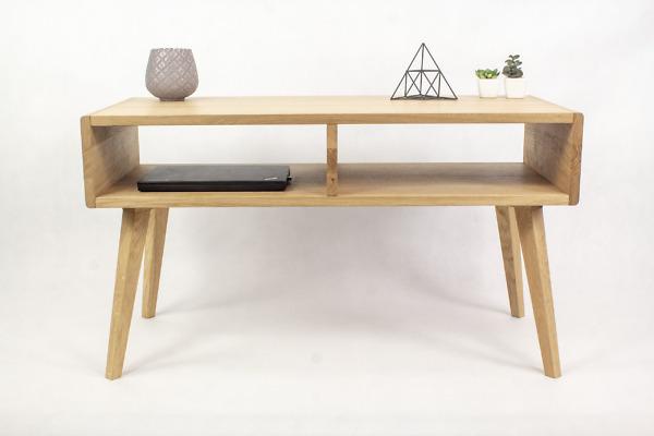 Dębowy lity designerski Stolik Kawowy Wide z zaokrąglonymi bokami, symetryczne półki